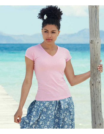 Lady Fit Valueweight V Neck T