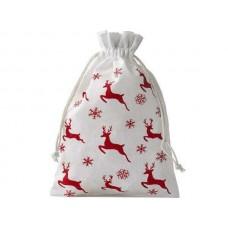 Balts kokvilnas maisiņš ar ziemeļbriežu motīvu