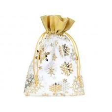Organzas maisiņš balts ar zelta apmali